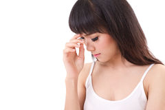 Sick woman with headache, migraine, stress, negative feeling Royalty Free Stock Image
