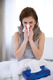 Sick woman at home Stock Photos