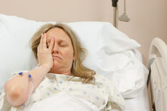 Sick Woman in Hospital Royalty Free Stock Photography
