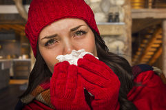 Sick Woman Inside Cabin Blowing Her Sore Nose With Tissue Stock Image