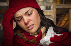 Sick Woman Inside Cabin Holding Tissue Stock Photography