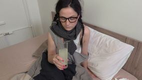 Sick woman make treatments. In room stock footage