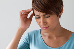 Sick woman with pain, headache, migraine, stress Stock Image