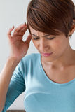 Sick woman with pain, headache, migraine, stress, insomnia Stock Photos