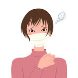 Sick woman  in a protective mask Stock Photo