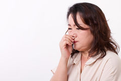 Sick woman with runny nose Royalty Free Stock Images
