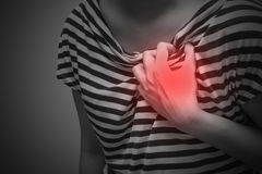 Sick woman with severe heartache. Suffering from chest pain Royalty Free Stock Image