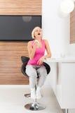 Sick woman sneeze, young ill girl having flu blow Royalty Free Stock Photos