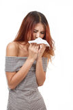 Sick woman sneezing due to flu, cold, allergy Stock Images