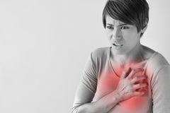 Sick woman with sudden heart attack. Symptom royalty free stock image