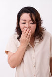 Sick woman suffers from cold, flu, respiratory issue Stock Photos