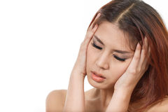 Sick woman suffers from headache, migraine, stress, hangover Stock Images
