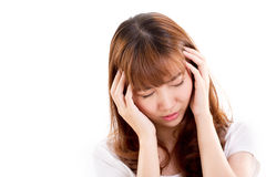 Sick woman suffers from headache pain, migraine, insomnia Stock Photography
