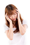 Sick woman suffers from headache pain, migraine, insomnia Stock Photos