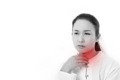 Sick woman suffers from sore throat or reflux Royalty Free Stock Image