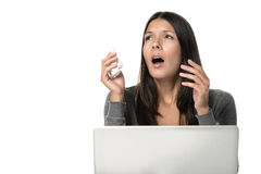 Sick Woman About to Sneeze in Front her Laptop. Sick Young Woman About to Sneeze While Looking at her Upper Right, with Tissue Paper on Hand, in Front her Laptop royalty free stock photos