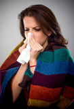 Sick woman with a winter cold Royalty Free Stock Images