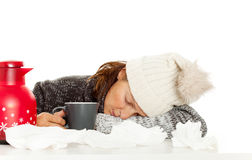 Sick Woman With Cup Royalty Free Stock Images