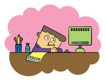 Sick at work. Illustration of a sick cartoon office worker with a thermometer vector illustration