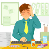 Sick at work. Young man feeling ill during work Stock Image