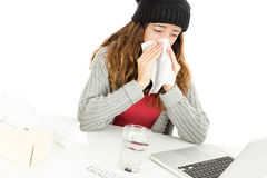 Sick working woman Stock Images