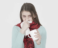 Sick young girl Stock Photos