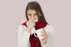 Sick young girl Stock Image