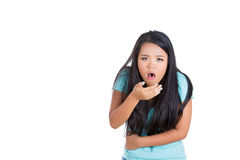 Sick young girl wanting to vomit Stock Photo
