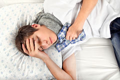 Sick Young Man Royalty Free Stock Photography