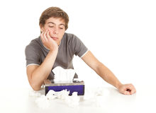 Sick young man with flu Stock Photos