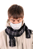 Sick Young Man in Flu Mask Royalty Free Stock Photos