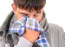 Sick Young Man. With Handkerchief Isolated on the White Background Stock Photos