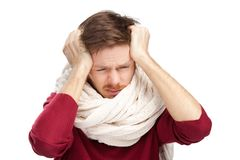 Sick young man with a headache Royalty Free Stock Images