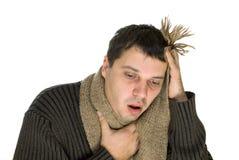 Sick Young Man Wearing A Scarf Stock Photos