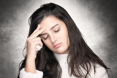 Sick Young Woman with Headache. Flu or Allergy Royalty Free Stock Images