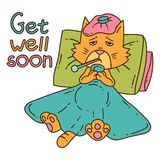 Sickening cat with thermometer under the blanket. Get well card. Isolated objects on white background. Vector illustration Stock Photos