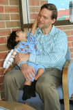 Sickl child playing with father in hospital Royalty Free Stock Image