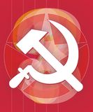 Sickle and hammer. And red star Royalty Free Stock Photo