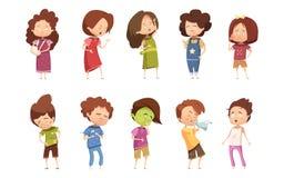 Sickness Child Retro Cartoon Icon Set Royalty Free Stock Photos