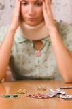 Sickness (focus on pills). Picture of Sickness (focus on pills Royalty Free Stock Photography