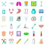 Sickness icons set, cartoon style Royalty Free Stock Photography