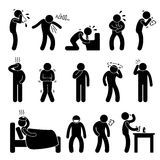 Sickness Illness Disease Symptom. A set of pictogram representing sick people with symptom Stock Image