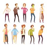 Sickness Man Retro Cartoon Icon Set. Colored sickness man retro cartoon icon set with different styles and ages people vector illustration Royalty Free Stock Images
