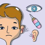 Sickness otitis and conjunctivitis with medical treatment. Vector illustration Stock Photos