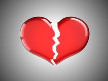 Sickness and pain. Red Broken Heart. Over grey background Royalty Free Stock Image