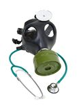 Sickness prevention. Stethoscope and a rubber gas mask to protect the wearer from airborne pollutants and germs - path included Stock Image