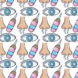 Sickness runny nose and conjunctivitis wih medical treatment background. Vector illustration Stock Photo