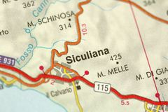 Siculiana. Map. The islands of Sicily, Italy.  Royalty Free Stock Photography