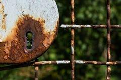 Sicurezza arrugginita dell'estratto del fondo di struttura del metallo della serratura del giardino Immagini Stock