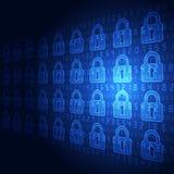 Sicurezza astratta di tecnologia sul fondo della rete globale, illustrazione di vettore illustrazione di stock